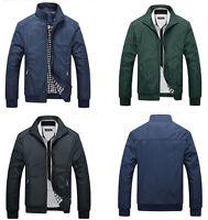 Men Slim Jacket Stand Collar Coat Outwear Casual Autumn Bomber Tops Overcoat Hot