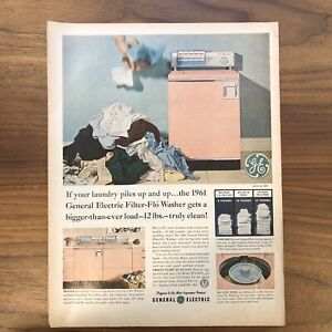 1961 GE General Electric pink Washer Dryer pile of laundry print Advertising ad