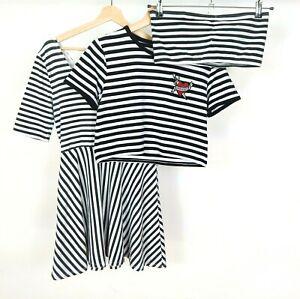 H&M Monochrome Stripe Clothes Bundle Size 14/16 Tops & Dress Black White
