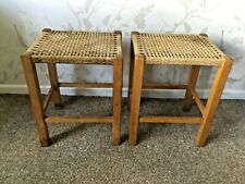 Vintage Pair Of Woven Top Stools