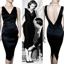 DOLCE & GABBANA D&G vintage 1990s black satin Sophia Loren V DRESS size 8 6 40