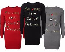 Womens Ladies Girls Christmas Novelty Sequin Xmas Long Tunic Thin Knit Jumper