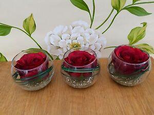 MODERN SET OF 3 RED ROSE & GRASS ARTIFICIAL FLOWER ARRANGEMENTS IN GLASS BOWLS