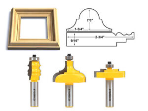 "3 Bit Picture Frame Router Bit Set - 1/2"" Shank - Yonico 18322"