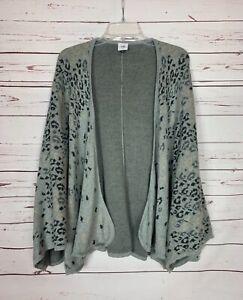 Cabi Women's One Size OS Gray Leopard Gigi Spring Sweater Cape Wrap Shawl $119