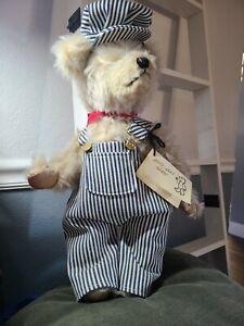 """Joyce Francis Ann's Engineer LTD EDITION SIGNED & tag #38 TEDDY Bear 17"""" jointed"""