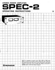 Pioneer SPEC-2 Amplifier Owners Manual