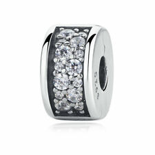 Sterling Silver 925 Shining Elegance Clip Charm with Fancy Clear CZ For Women