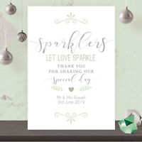 Personalised Wedding Sparklers Let Love Sparkle Sign Sage Green & Silver SSG19