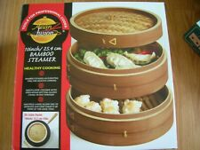 NEW 10 Inch Bamboo Steamer Multi Layer By Asian Fusion