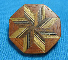Vintage Inlaid Striped Eight Point Star Wood Octogon Artisan Made Pin Brooch