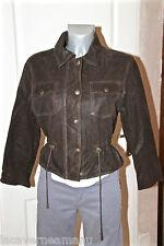 joli blouson veste à cintrer en cuir souple marron femme LOLA taille M (38)