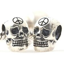 SKULL PEACE SIGN CND Charm Bead 925 Sterling Silver