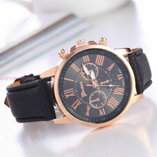 New Geneva Women Fashion Leather Stainless Steel Quartz Analog Wrist Watch