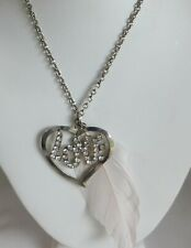 "Heart ""Love"" Rhinestone Jeweled White Feather Charm Necklace 18"""