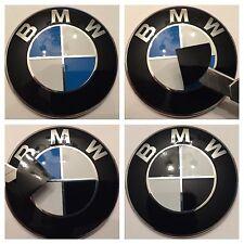 "All Bmw "" Black "" Set Emblem Vinyl Cover Roundel Sticker Overlay"