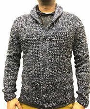Mens UK Branded Navy Ombre Knitted Shawl Chunky Button Cardigan Jumper