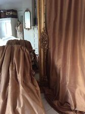 Opulent sumptuous GOLD 100%  SILK thermal blackout curtains Can be interlined