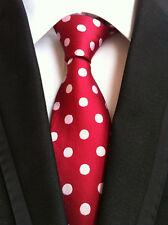 New Classic 100% Silk Men's Tie Polka Dot Red White JACQUARD WOVEN Necktie