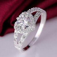 Women Romantic Silver Crystal Love Heart Shaped Ring Wedding Jewelry