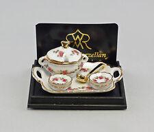 """Reutter Puppenstuben-Miniatur """"Tablett/Suppentopf Rose"""" Porzellan 9911004"""