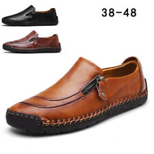 Fashion Mens Leather Casual Zipper Shoes Breathable Antiskid Loafers Moccasins X