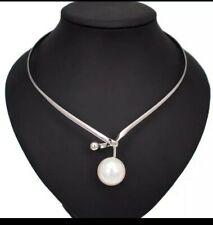 Statement Silver Big Cream Pearl Choker Collar Necklace By Rocks Boutique