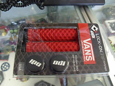 ODI VANS LOCK-ON FLANGELESS RED BMX MTB FIXIE FIXED BICYCLE GRIPS.