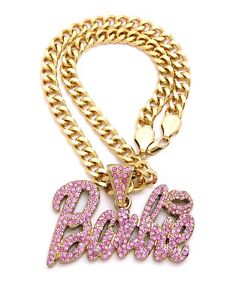 """New Barbie Pendant With 9mm 18"""" Cuban Link Chain 14K Gold Plated"""