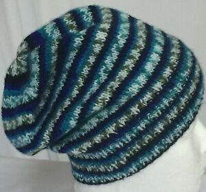 hand-knitted multi-acrylic slouchy-beanies 50-54cm head  sew-ezy-australia