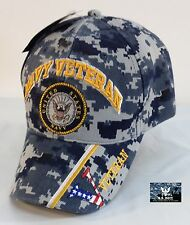 US Navy Veteran Ball Cap Blue Digital Camo USN Vet Ballcap Sub DDG CV LHD Hat V