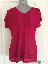 M&S 'Per Una' Size 14 Fuchsia Pink Short Sleeved Top BNWT