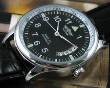 Fashion Mens Self-winding Sport Date Black Leather Automatic Mechanical Watch