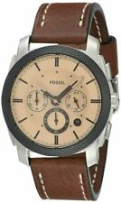 Fossil Machine FS5620 42 mm Silver Stainless Steel Crystal Case with Brown Leather Strap Men's Wristwatch