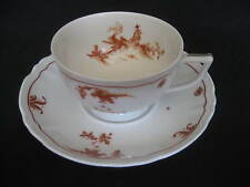 A. RAYNAUD et Cie Limoges France Ceralene 1- CUP & SAUCER SET Alcora-Red Pattern