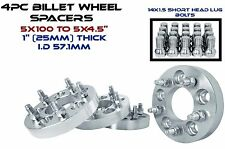 """4 Audi VolksWagen 5x100 MM To 5x4.5"""" Wheel Spacers Adapters Bolt On Kit 1"""" Thick"""