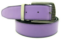 New Mens Lilac Lavender/Black Smooth Reversible Genuine Leather Classic Belt