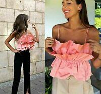 ZARA Pink / Peach VOLUMINOUS POPLIN TOP Blouse Size XL Ref. 8072/201  SOLD OUT!