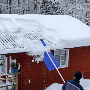 Snow Roof Rake Adjustable Extended Anti-Skid Handle 20ft Roof Snow Remover US