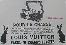 PUBLICITE LOUIS VUITTON PORTE HABITS LA CHASSE LAPIN DE 1926 FRENCH AD PUB RARE