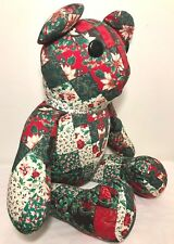 Large Patchwork Plush Christmas Bear Looks Handmade Button Eyes Red & Green 23""