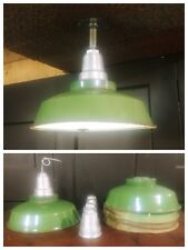 "VTG Green Porcelain Enamel Light Light Fixture 14"" Industrial Gas Station Patina"