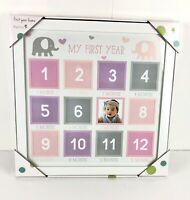 Tiny Ideas Babys First Year Keepsake By Month Pink Purple and Grey Elephant Gift