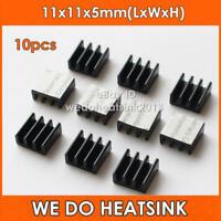 10Pcs 11*11*5mm 3D Printer Black Aluminum Ram Heatsink With Adhesive Tape
