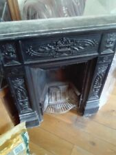 More details for cast iron fireplace victorian 1800's surround vintage antique insert - complete