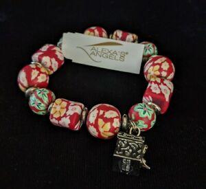 Alexa's Angels Prayer Box Red Flowers Beaded Charm Stretch Bracelet