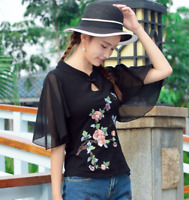 Women Embroidery Floral Chinese Cheongsam Top Short Sleeve T-shirt Muk15