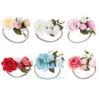 Newborn Baby Girls Infant Floral Headband Garland Hair Band Headwear Photo Prop