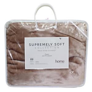 1pce Beige Queen Blanket 200x240cm Solid Colour w/Carry Bag Faux Mink Soft