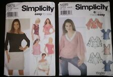 2 Patterns Simplicity 5595, 6 Tops Made Easy & 5878, Easy to Sew DD, 4, 6, 8, 10
